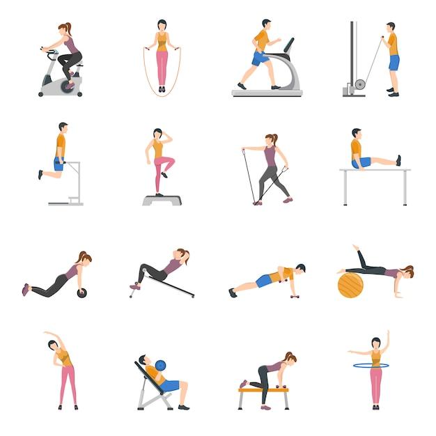 Gente entrenando en el gimnasio icons set vector gratuito
