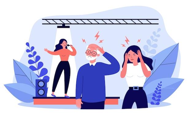 La gente escucha a la mala cantante y tiene dolor de cabeza. escenario, canción, ilustración de ruido. concepto de rendimiento y música para banner, sitio web o página web de destino. Vector Premium