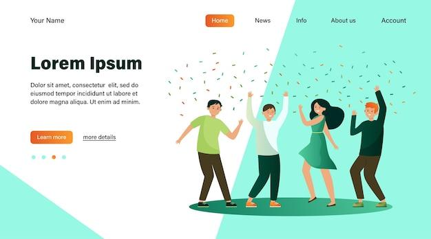 Gente feliz bailando en fiesta juntos ilustración vectorial plana. dibujos animados emocionados amigos o compañeros de trabajo celebrando con confeti. concepto de logro y celebración vector gratuito