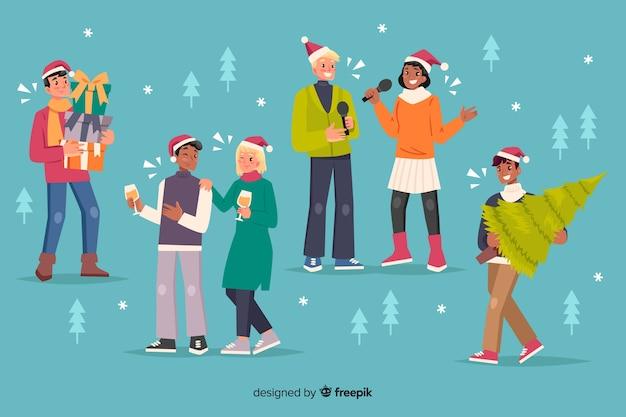 Gente feliz celebrando dibujos animados de navidad vector gratuito