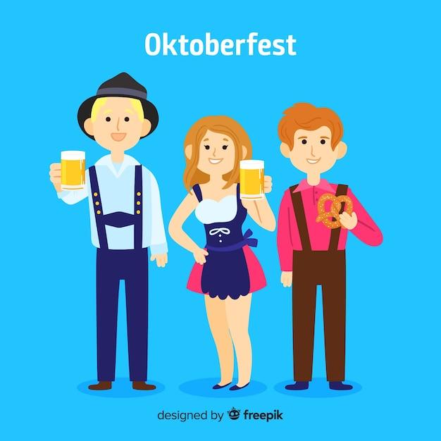 Gente feliz celebrando el oktoberfest con diseño plano vector gratuito