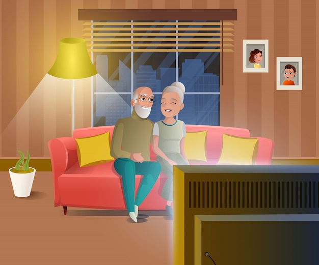 Gente feliz en concepto de vector de dibujos animados de jubilación Vector Premium