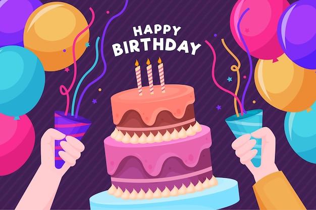 Gente feliz cumpleaños, tener una fiesta vector gratuito