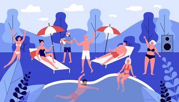 Gente feliz descansando en la fiesta junto a la piscina Vector Premium