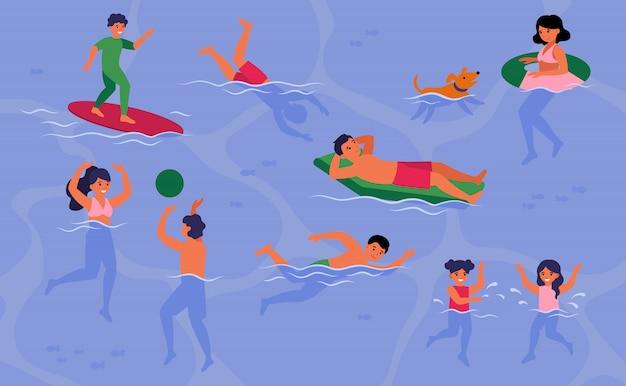 Gente feliz nadando en la piscina o en el mar vector gratuito
