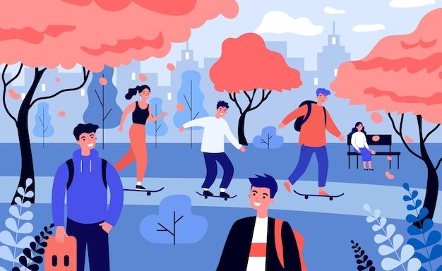 Gente feliz patinando en el parque de otoño. Vector Premium
