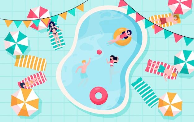 Gente feliz relajándose en la piscina vector gratuito