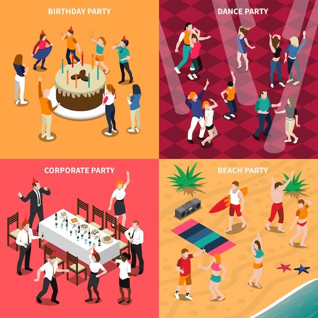 Gente en la fiesta ilustración isométrica vector gratuito