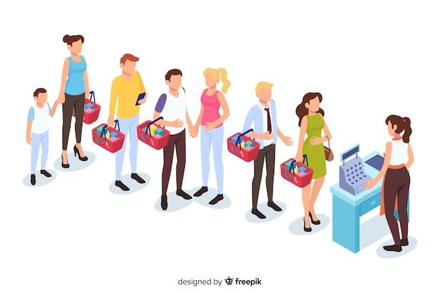 Gente en fila para pagar vector gratuito