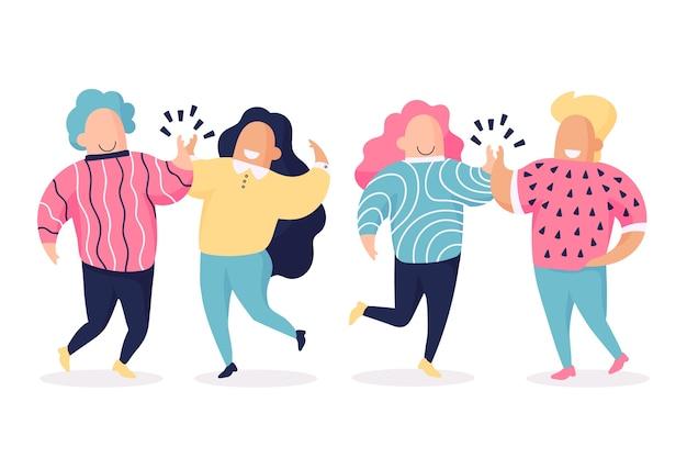 Gente gesticulando cinco alta pose vector gratuito