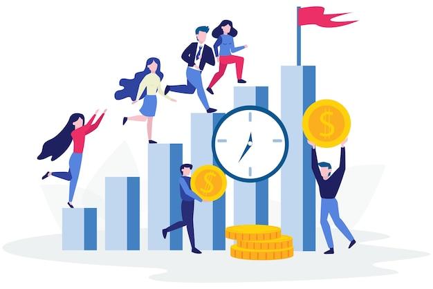 La gente se para en el gráfico de barras de crecimiento. idea de logro y progreso. avanzando hacia el éxito. crecimiento financiero. ilustración Vector Premium