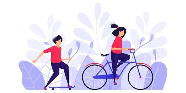 La gente hace ejercicio, relájate y disfruta de la tarde. Vector Premium