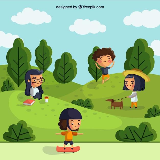 Gente haciendo actividades al aire libre con diseño plano vector gratuito