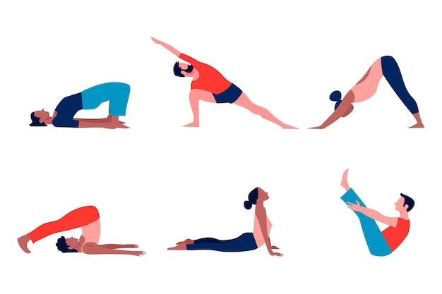Gente haciendo concepto de yoga Vector Premium