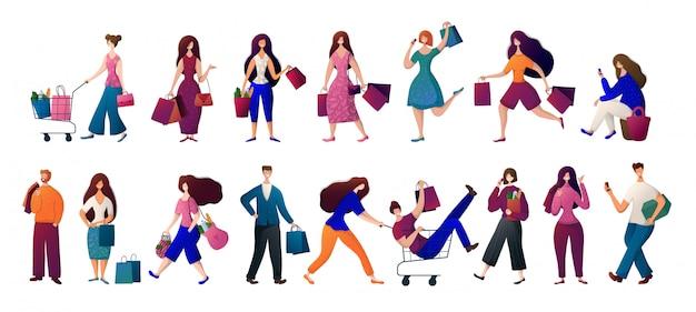 Gente - hombre y mujer con bolsas de la compra. conjunto de vectores Vector Premium