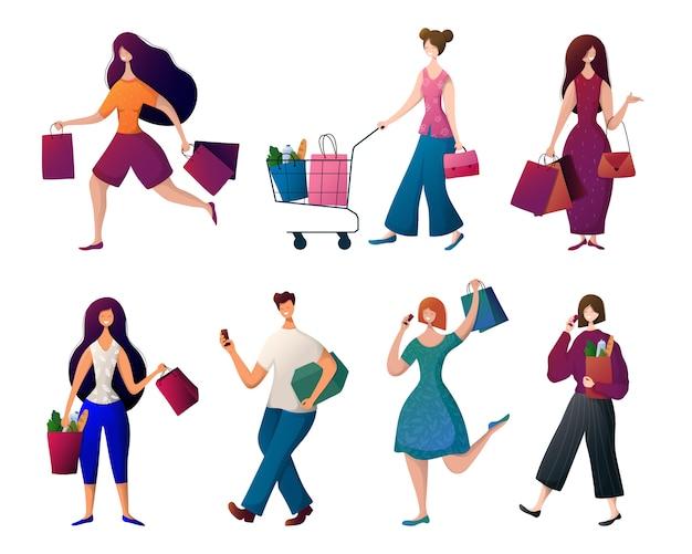 Gente hombre y mujer con bolsas de la compra. | Vector Premium