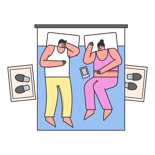 La gente a la hora de acostarse pareja casada duerme en una cómoda cama doble Vector Premium