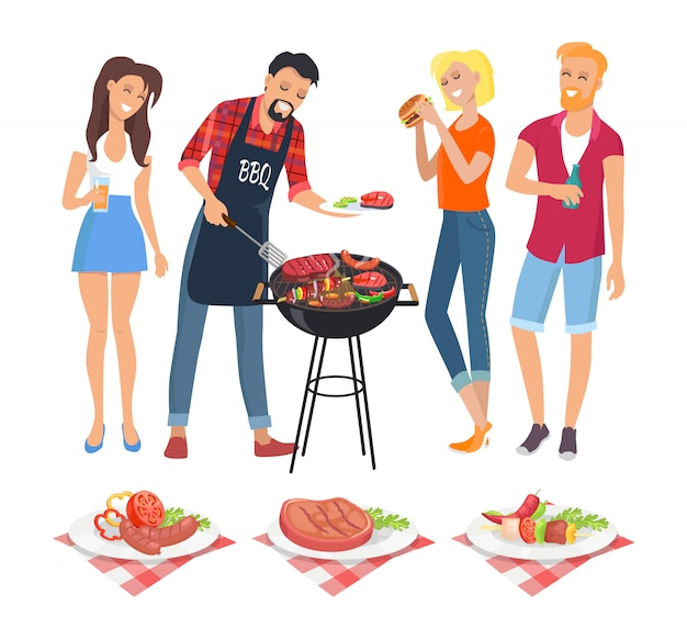 Gente en la ilustración de iconos de fiesta barbacoa Vector Premium