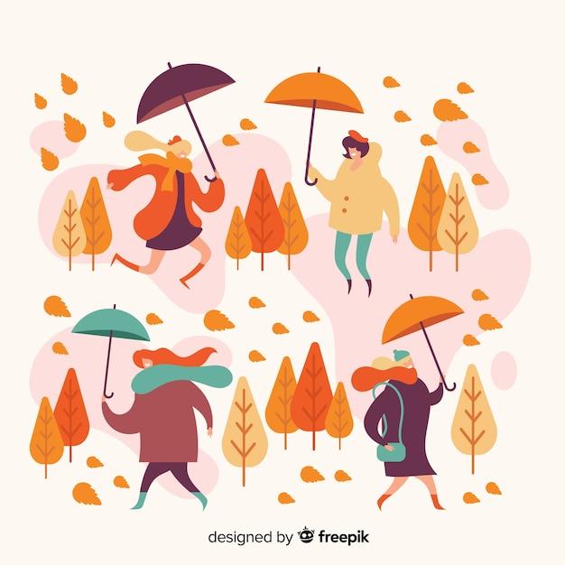 Gente en la ilustración del parque otoño vector gratuito