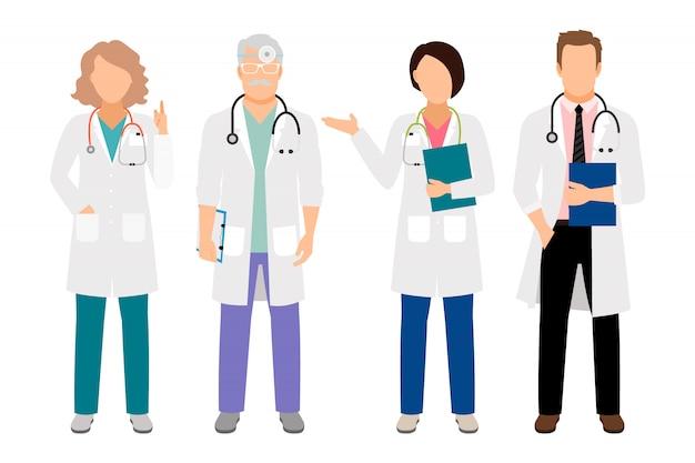Gente en la ilustración de vector de batas blancas. médico de sexo masculino derecho del cuerpo completo y médico femenino aislado para el ejemplo del laboratorio Vector Premium