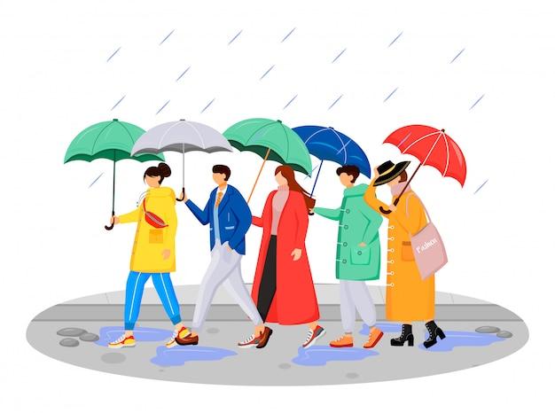 La gente en impermeables de color plano personajes sin rostro. caminando humanos caucásicos con sombrillas. día lluvioso. hombres y mujeres en la carretera ilustración de dibujos animados aislado sobre fondo blanco. Vector Premium