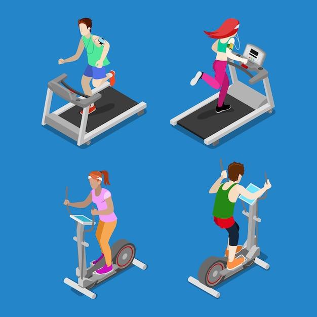 Gente isométrica hombre y mujer corriendo en la caminadora en el gimnasio. personas activas Vector Premium
