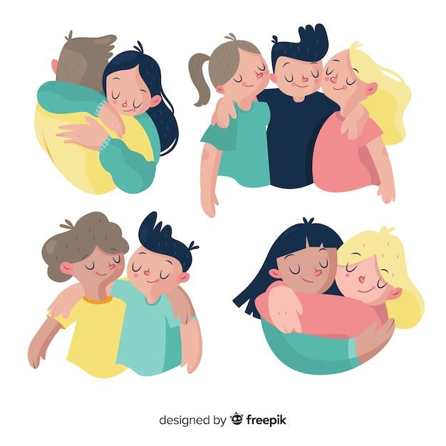 Gente joven abrazándose junta en diseño plano Vector Premium