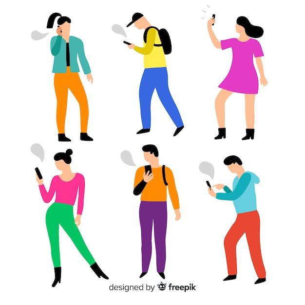 Gente joven dibujada a mano con smartphones vector gratuito