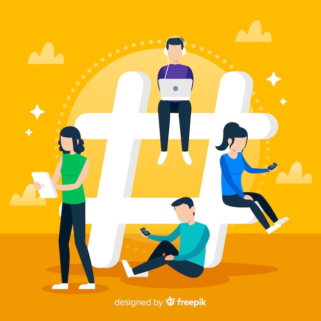 Gente joven con símbolo hashtag vector gratuito