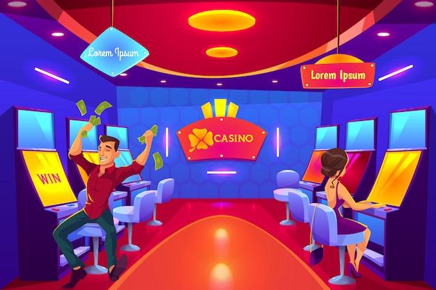 La gente juega en el casino jugando en máquinas tragamonedas, gana, pierde, gasta dinero. vector gratuito