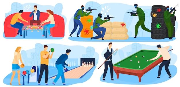 La gente juega juegos, actividades recreativas y divertidas, entretenimientos con juegos de paintball, billar, juegos de bolos. Vector Premium