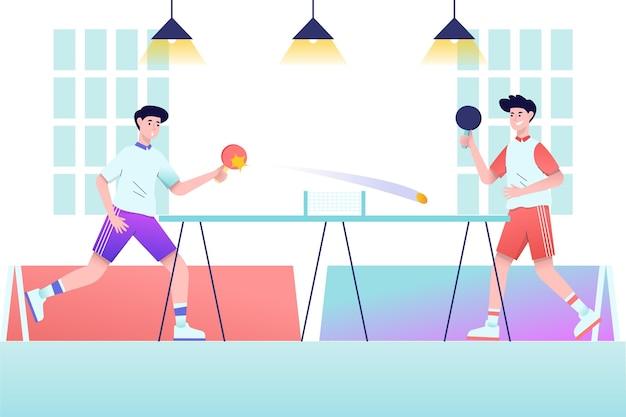 Gente jugando al tenis en el interior vector gratuito