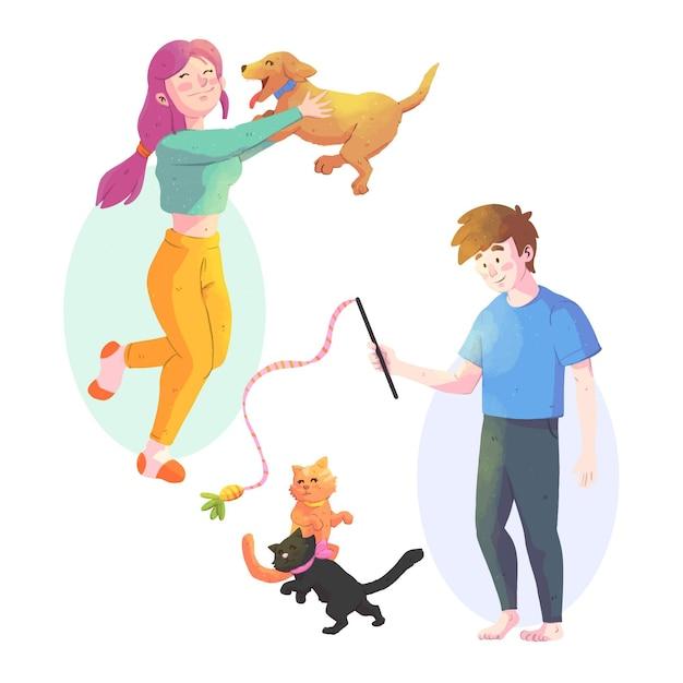 Gente jugando con sus mascotas vector gratuito