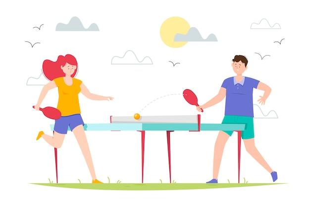 Gente jugando tenis de mesa ilustración vector gratuito