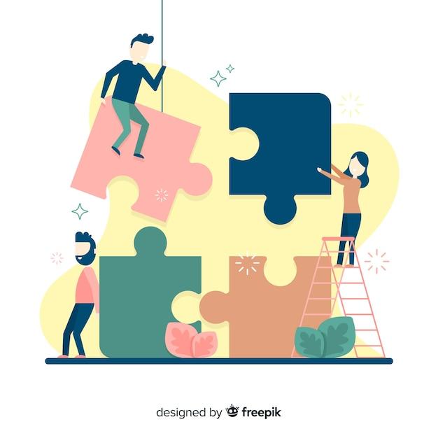 Gente juntado piezas de puzzle vector gratuito