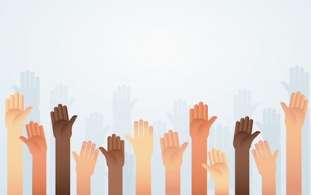 La gente levantó las manos de diferente color de piel Vector Premium