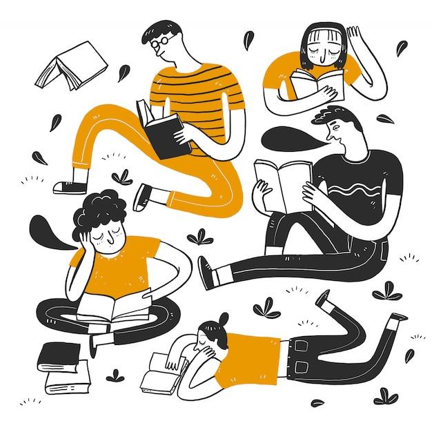 Gente leyendo en el parque. Vector Premium