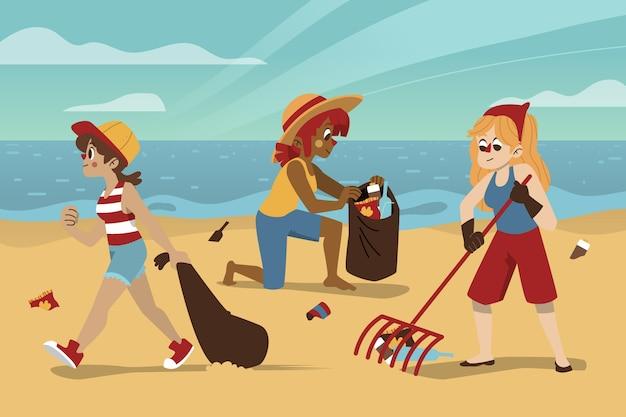 Gente limpiando playa vector gratuito