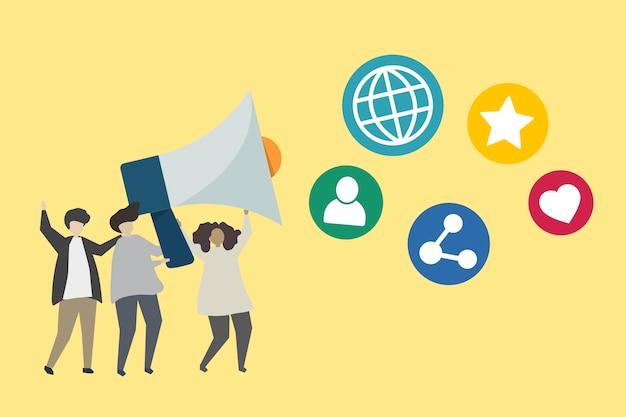Gente con megáfono e ilustración de iconos de redes sociales vector gratuito