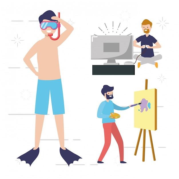 Gente mi gente aficionada haciendo actividades, nadando, pintando, jugando videojuegos ilustración vector gratuito