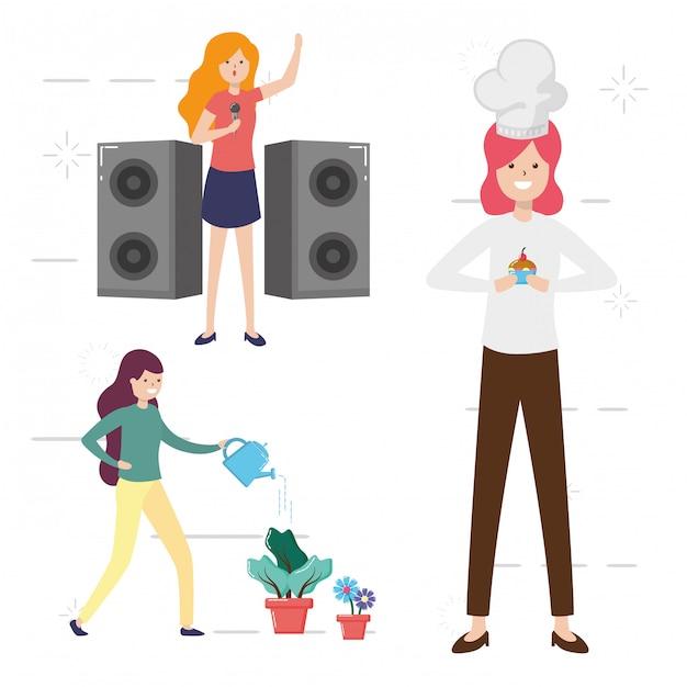 Gente mi hobby, gente haciendo actividades, regando plantas, cocinando, cantando ilustración vector gratuito