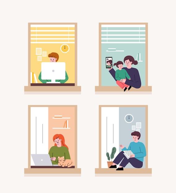 Gente mirando por la ventana. en el caso de un virus corona, las personas se autoaislan en los hogares. teletrabajo en casa. Vector Premium