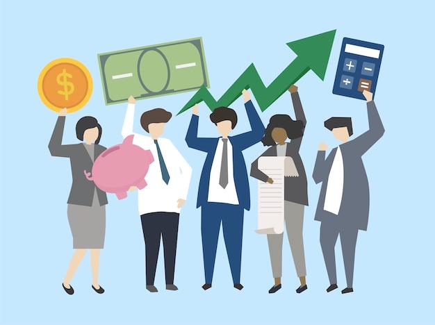 Gente de negocios y banqueros con ilustración de dinero vector gratuito