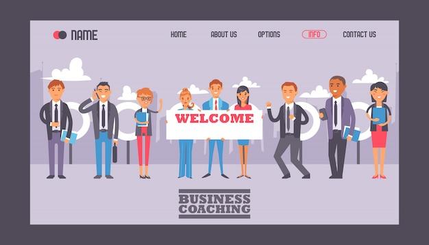 Gente de negocios con cartel con texto bienvenido web plantilla web Vector Premium