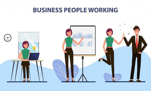 Gente de negocios colega trabajo en equipo carácter de oficina. Vector Premium