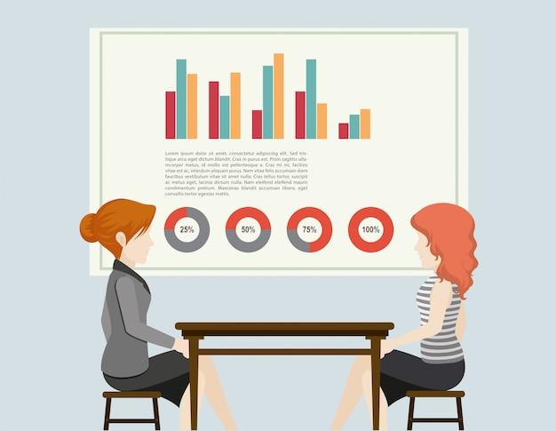 Gente de negocios y graficas vector gratuito