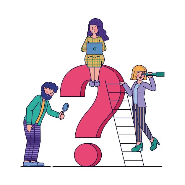 Gente de negocios haciendo preguntas ilustración vectorial plana vector gratuito