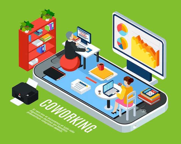 Gente de negocios isométrica con teléfono inteligente y oficina de coworking con muebles de espacio de trabajo y empleados ilustración vectorial vector gratuito