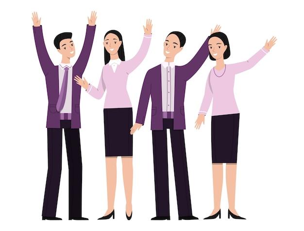 Gente de negocios de la mano gesticulando ilustración vector gratuito