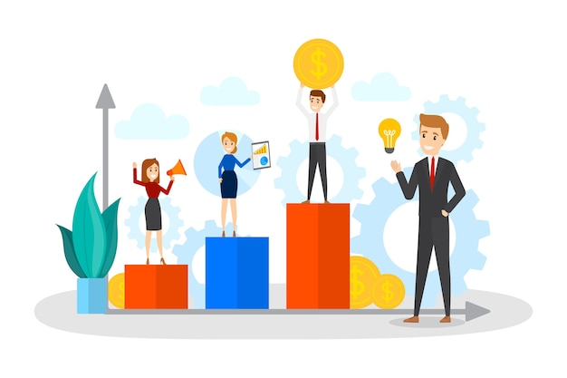 Gente de negocios de pie sobre un gráfico ascendente. idea de análisis y aumento. concepto de trabajo en equipo. beneficio y éxito en los negocios. ilustración de vector plano aislado Vector Premium